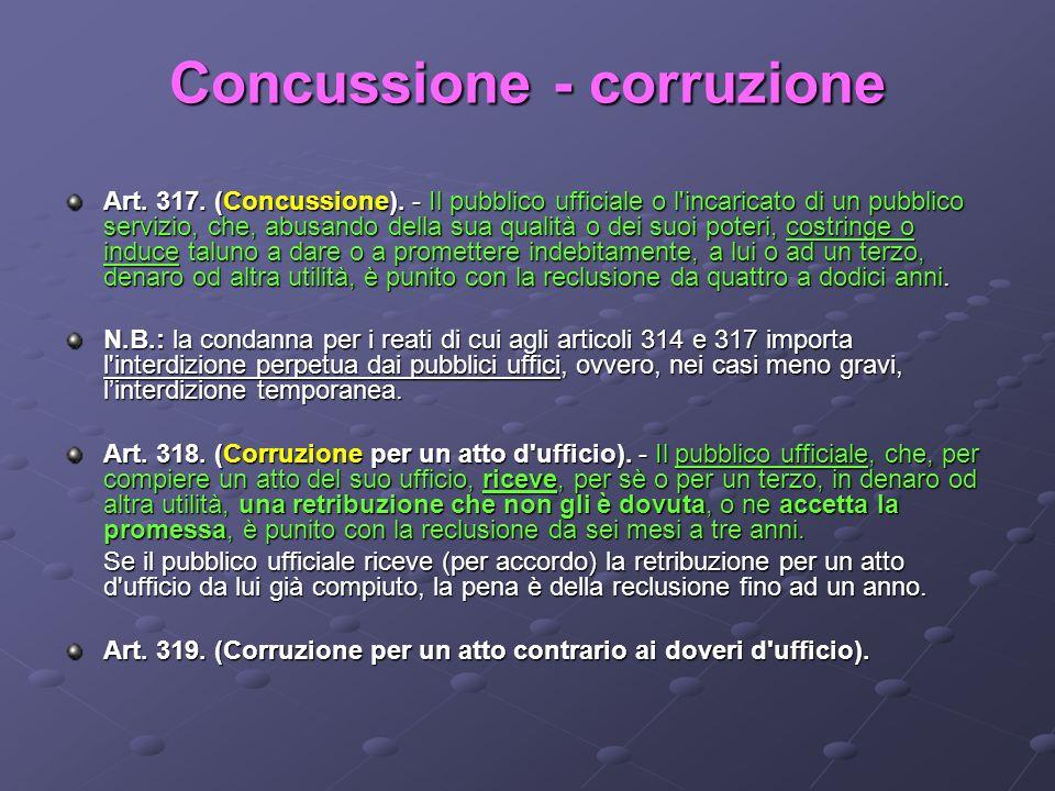 Concussione - corruzione