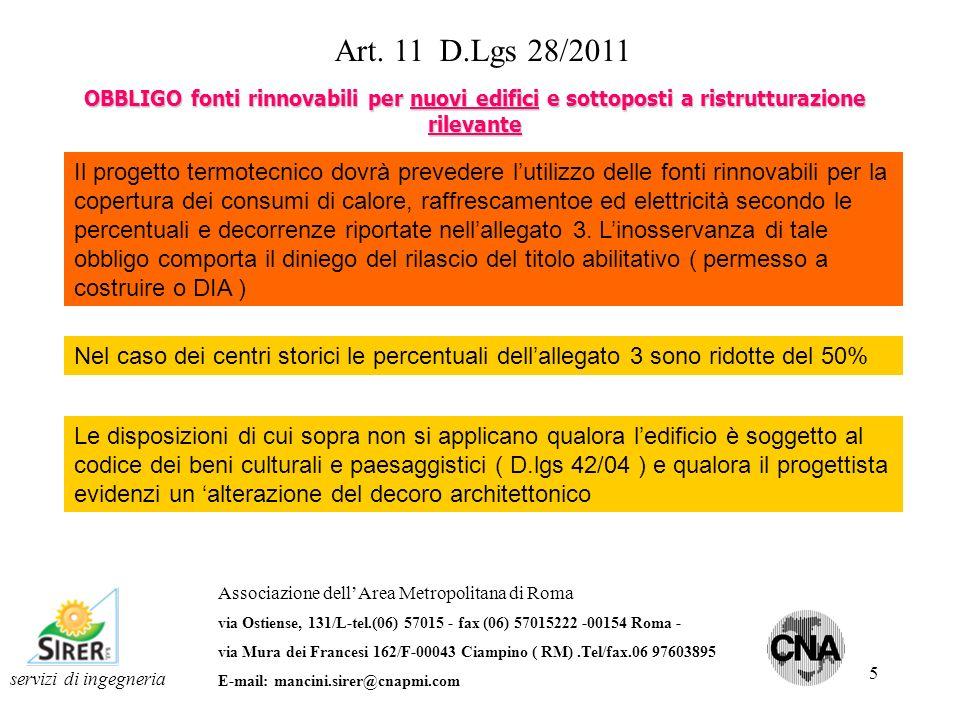 Art. 11 D.Lgs 28/2011 OBBLIGO fonti rinnovabili per nuovi edifici e sottoposti a ristrutturazione rilevante.