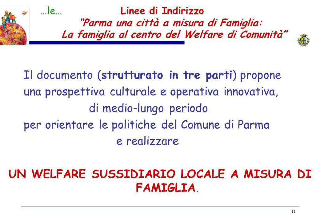 UN WELFARE SUSSIDIARIO LOCALE A MISURA DI FAMIGLIA.