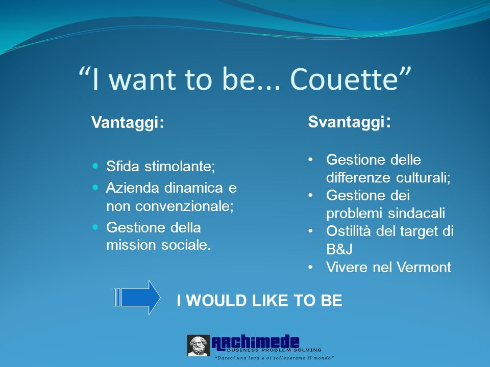 I want to be... Couette Svantaggi: Vantaggi: I WOULD LIKE TO BE