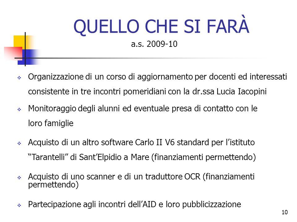 QUELLO CHE SI FARÀ a.s. 2009-10.