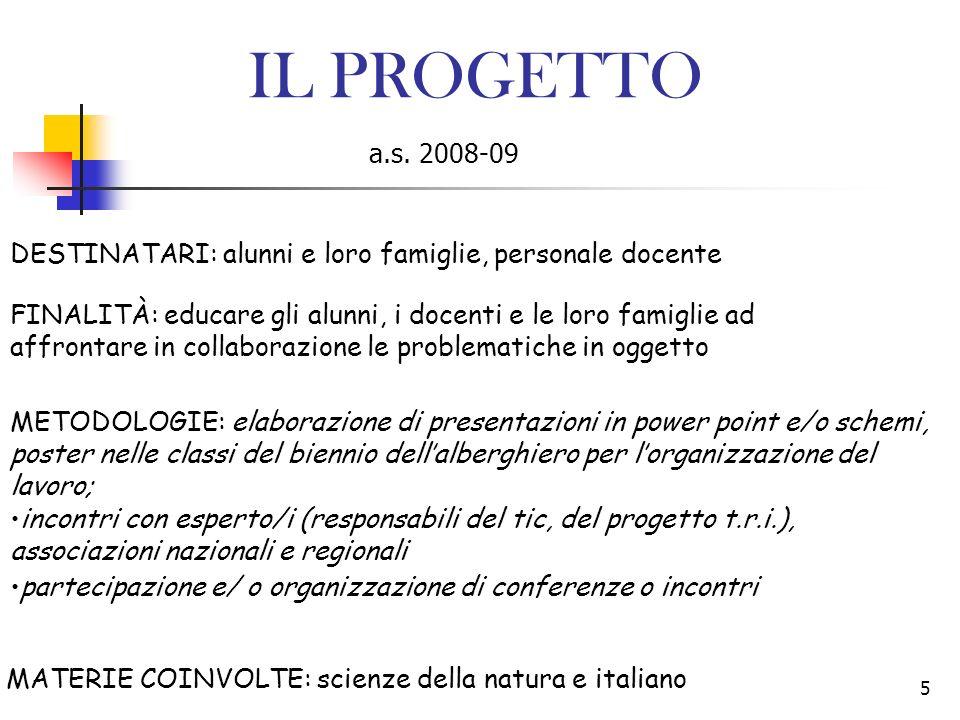IL PROGETTO a.s. 2008-09. DESTINATARI: alunni e loro famiglie, personale docente.