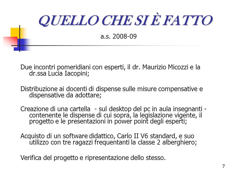 QUELLO CHE SI È FATTO a.s. 2008-09