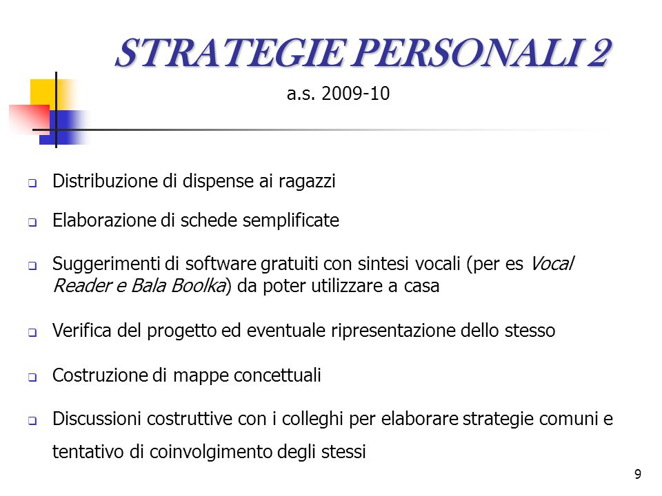 STRATEGIE PERSONALI 2 a.s. 2009-10
