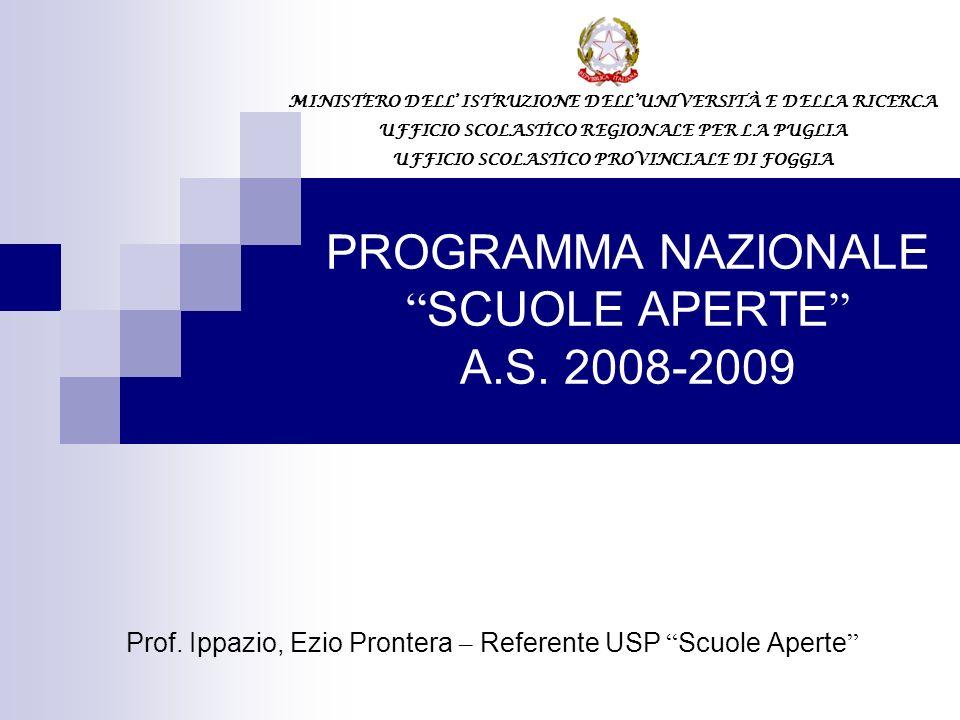 PROGRAMMA NAZIONALE SCUOLE APERTE A.S. 2008-2009