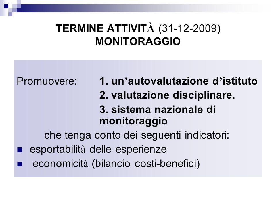 TERMINE ATTIVITÀ (31-12-2009) MONITORAGGIO