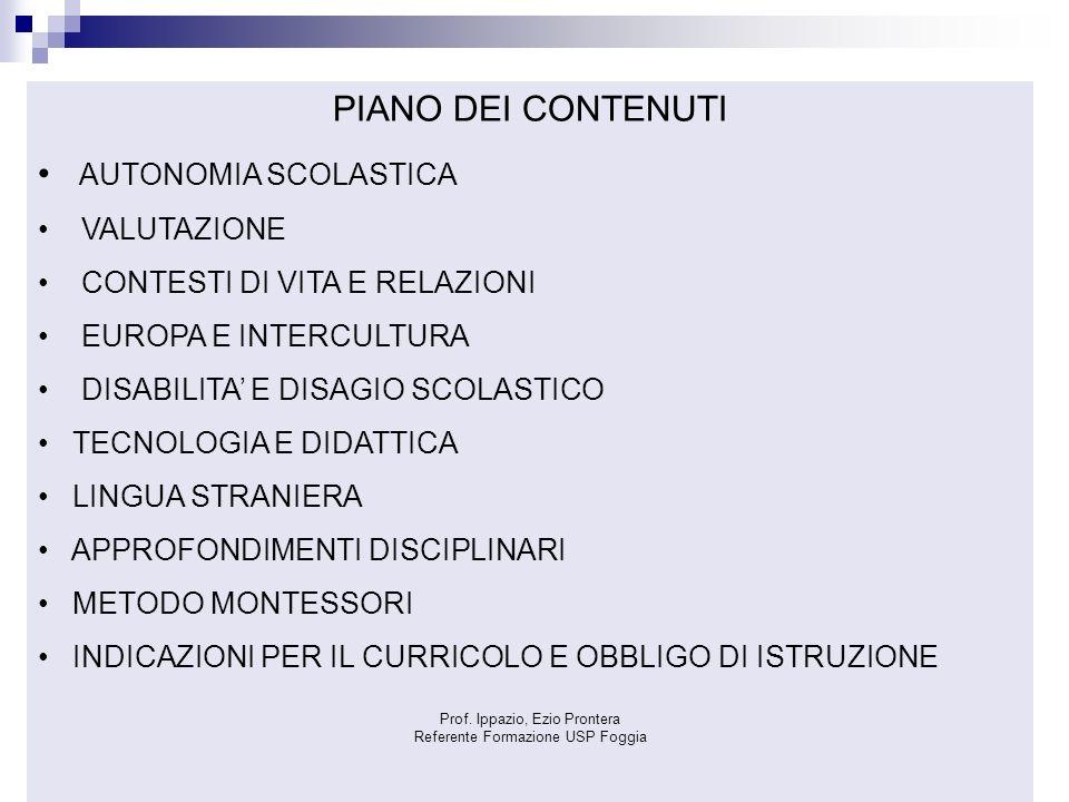 PIANO DEI CONTENUTI AUTONOMIA SCOLASTICA VALUTAZIONE