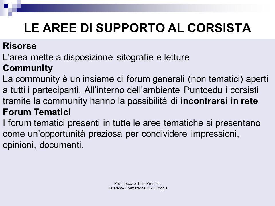 LE AREE DI SUPPORTO AL CORSISTA