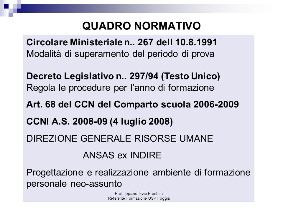 QUADRO NORMATIVO Circolare Ministeriale n.. 267 dell 10.8.1991