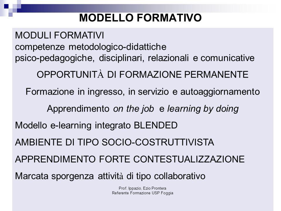 MODELLO FORMATIVO MODULI FORMATIVI competenze metodologico-didattiche