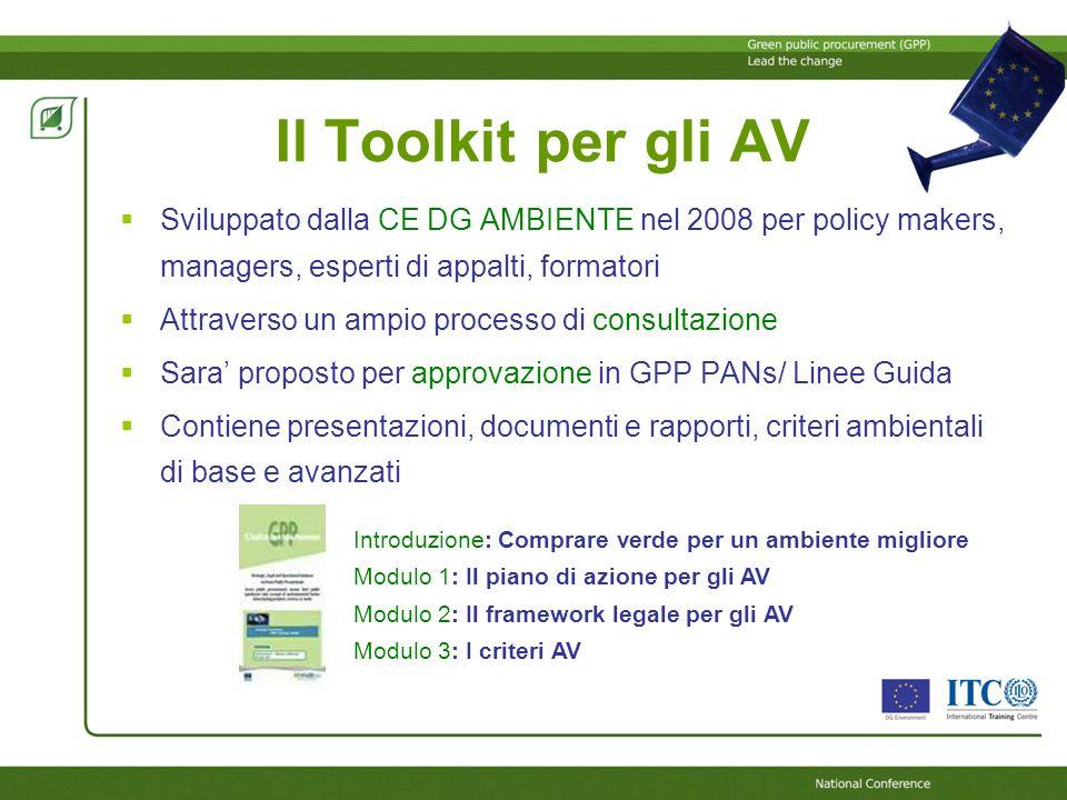 Il Toolkit per gli AV Sviluppato dalla CE DG AMBIENTE nel 2008 per policy makers, managers, esperti di appalti, formatori.