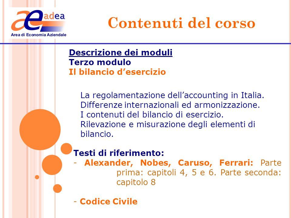 Contenuti del corso Descrizione dei moduli Terzo modulo
