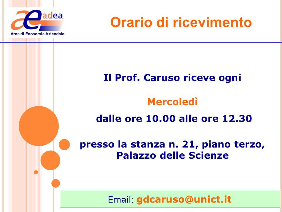 Orario di ricevimento Il Prof. Caruso riceve ogni Mercoledì