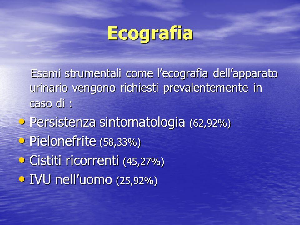 Ecografia Esami strumentali come l'ecografia dell'apparato urinario vengono richiesti prevalentemente in caso di :