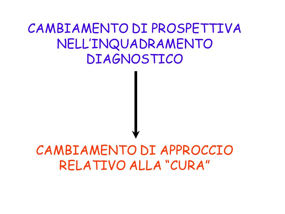 CAMBIAMENTO DI PROSPETTIVA NELL'INQUADRAMENTO DIAGNOSTICO
