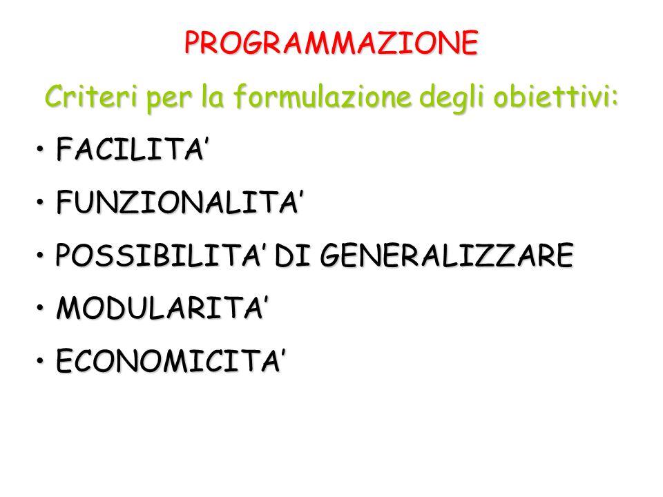 Criteri per la formulazione degli obiettivi:
