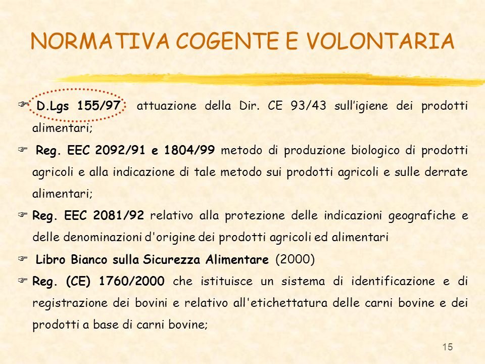 NORMATIVA COGENTE E VOLONTARIA