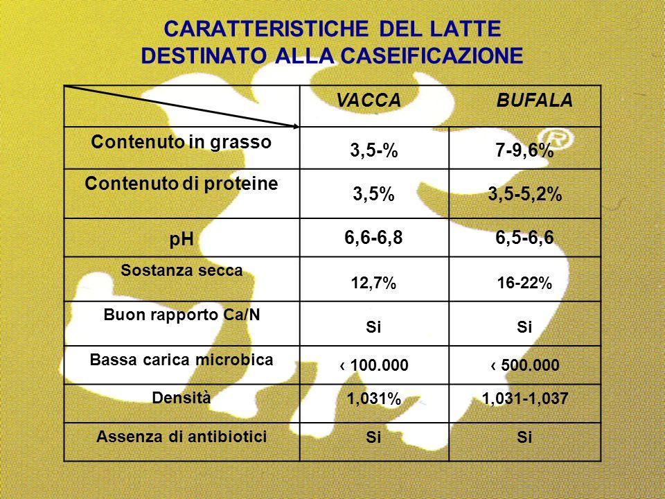 CARATTERISTICHE DEL LATTE DESTINATO ALLA CASEIFICAZIONE