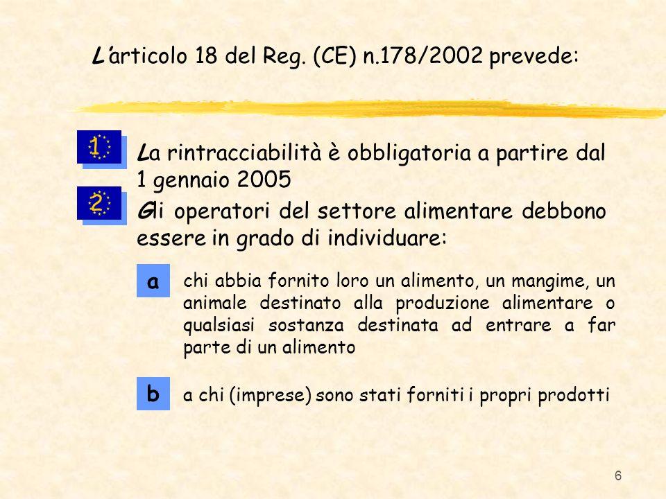 L'articolo 18 del Reg. (CE) n.178/2002 prevede: