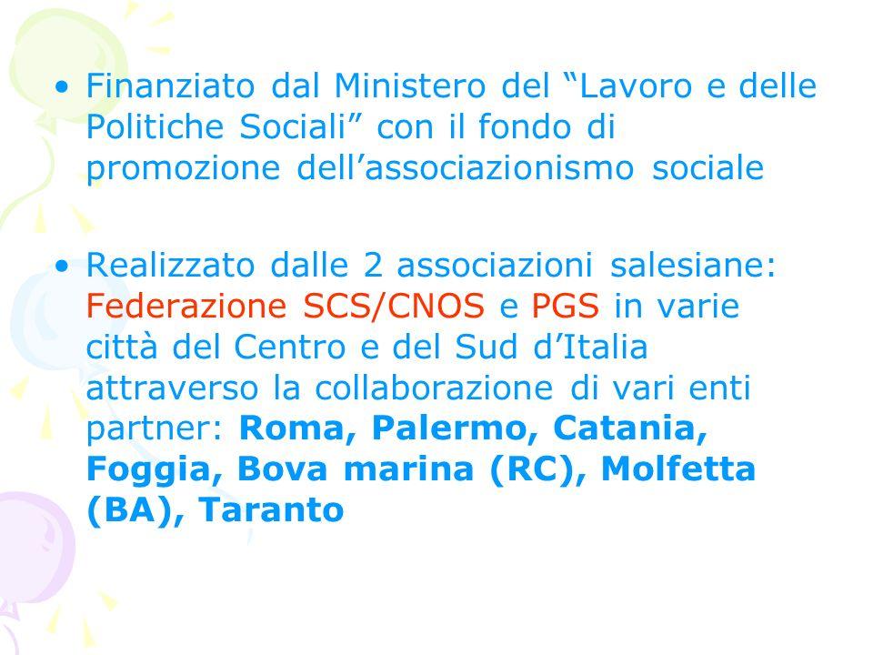Finanziato dal Ministero del Lavoro e delle Politiche Sociali con il fondo di promozione dell'associazionismo sociale