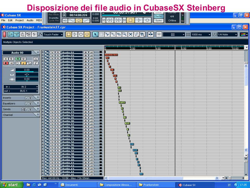 Disposizione dei file audio in CubaseSX Steinberg