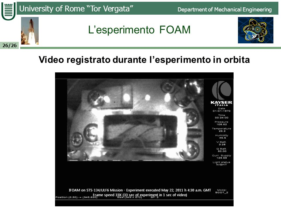 Video registrato durante l'esperimento in orbita