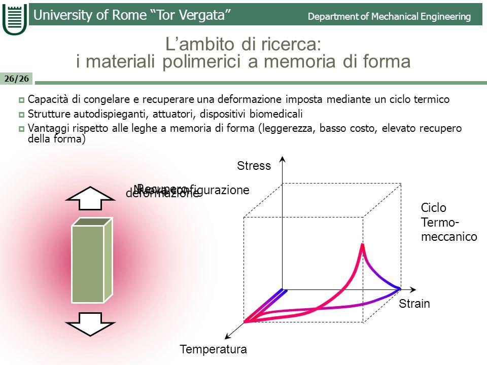 L'ambito di ricerca: i materiali polimerici a memoria di forma