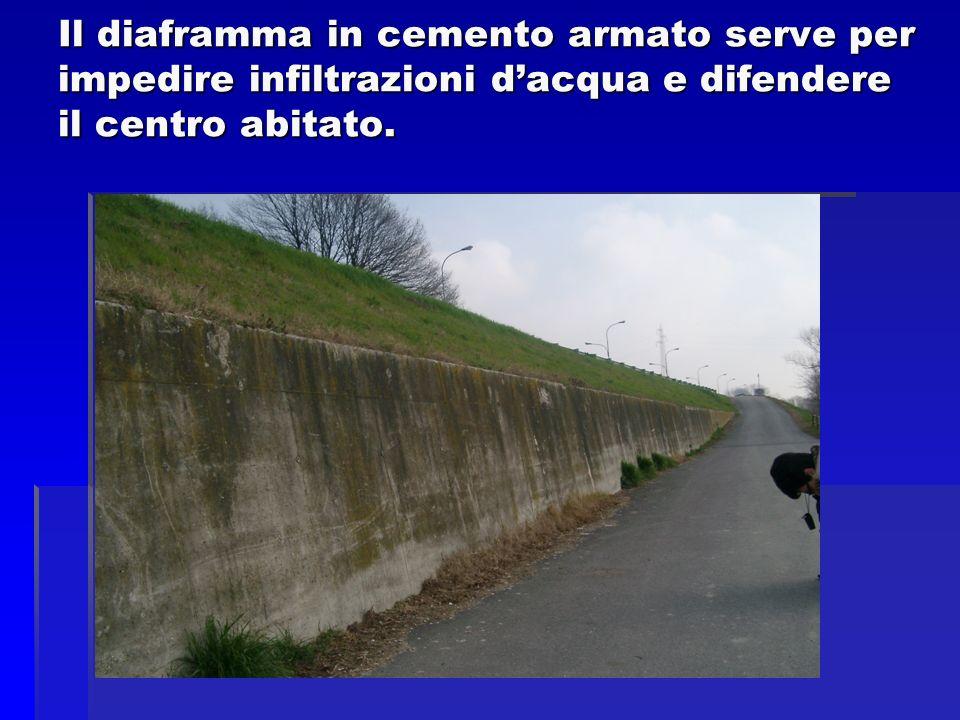 Il diaframma in cemento armato serve per impedire infiltrazioni d'acqua e difendere il centro abitato.