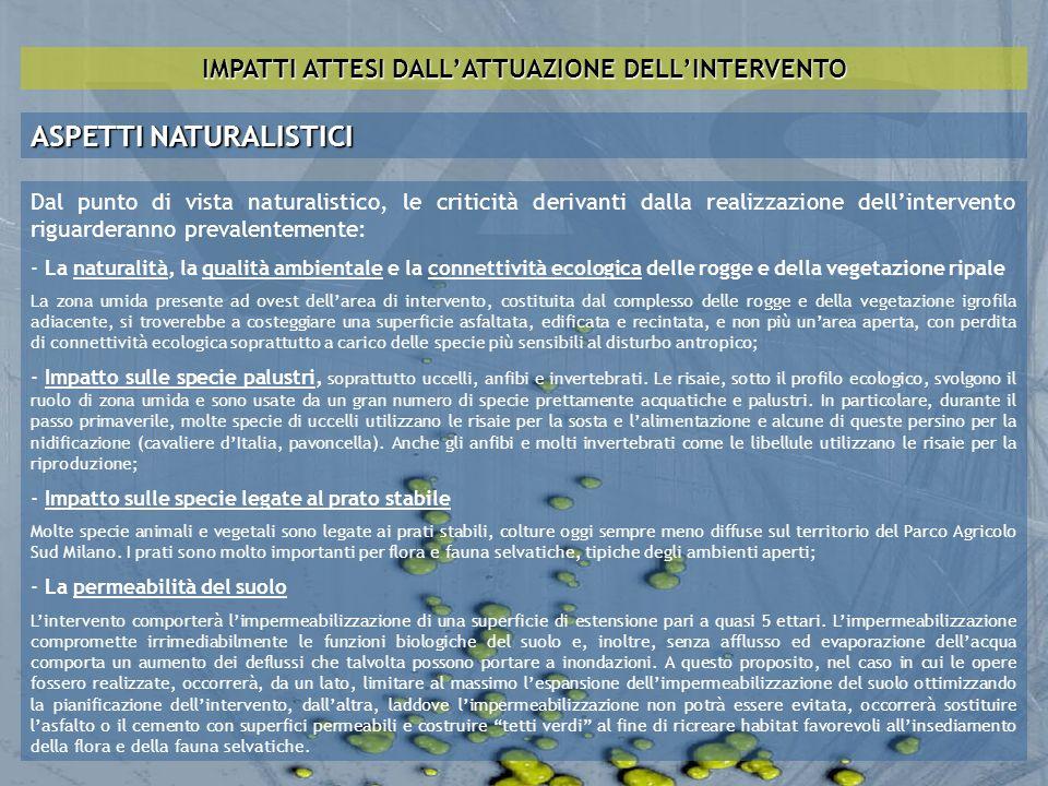 IMPATTI ATTESI DALL'ATTUAZIONE DELL'INTERVENTO
