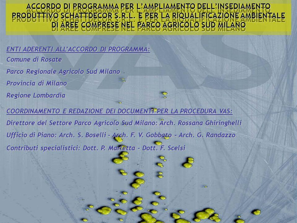ACCORDO DI PROGRAMMA PER L'AMPLIAMENTO DELL'INSEDIAMENTO PRODUTTIVO SCHATTDECOR S.R.L. E PER LA RIQUALIFICAZIONE AMBIENTALE DI AREE COMPRESE NEL PARCO AGRICOLO SUD MILANO
