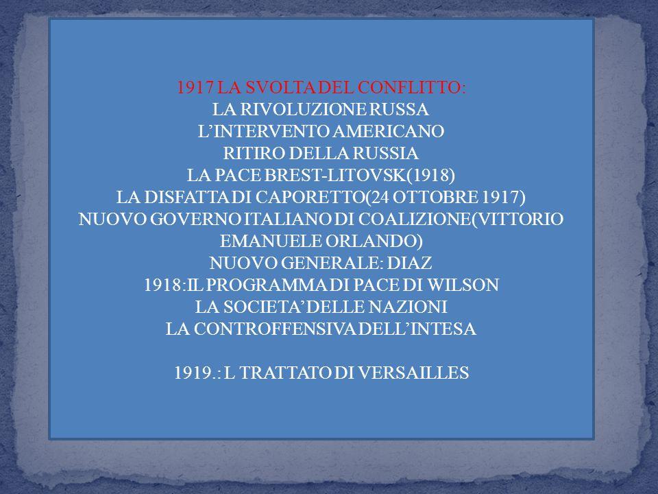 1917 LA SVOLTA DEL CONFLITTO: LA RIVOLUZIONE RUSSA