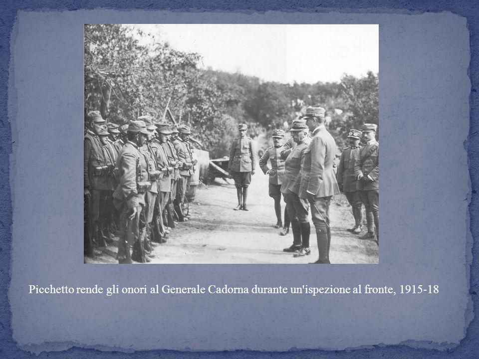Picchetto rende gli onori al Generale Cadorna durante un ispezione al fronte, 1915-18