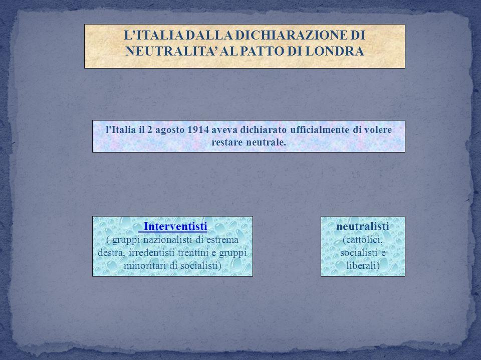 L'ITALIA DALLA DICHIARAZIONE DI NEUTRALITA' AL PATTO DI LONDRA