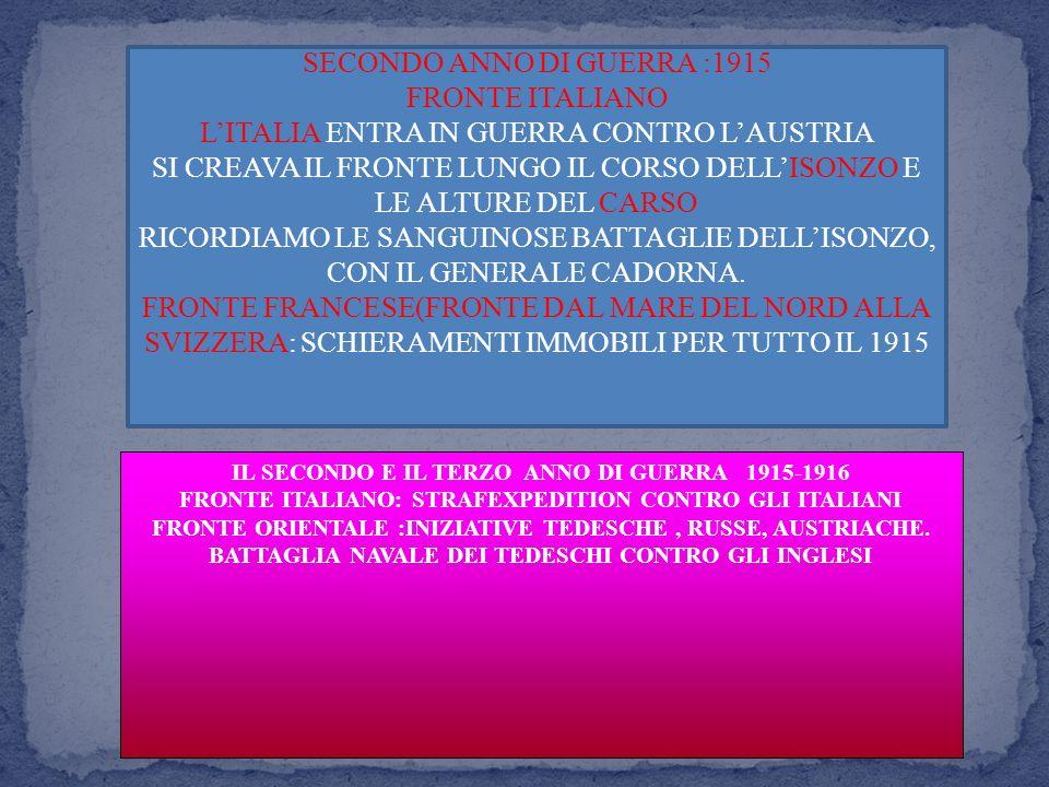 SECONDO ANNO DI GUERRA :1915 FRONTE ITALIANO