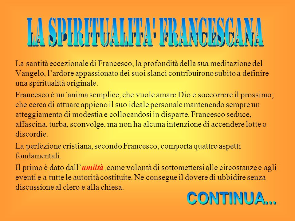 LA SPIRITUALITA FRANCESCANA