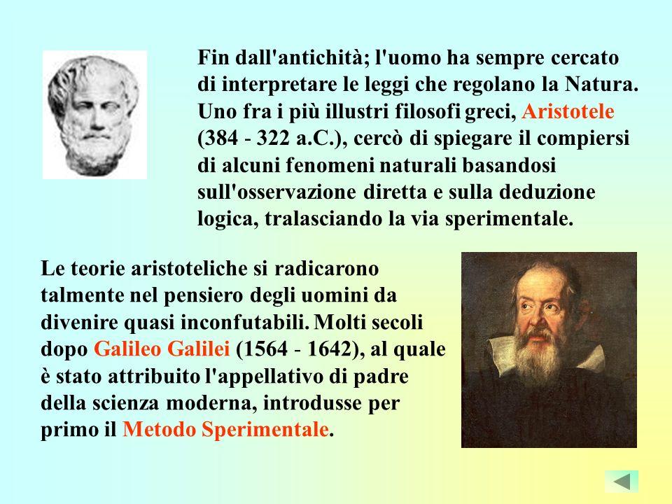 Fin dall antichità; l uomo ha sempre cercato di interpretare le leggi che regolano la Natura. Uno fra i più illustri filosofi greci, Aristotele (384 - 322 a.C.), cercò di spiegare il compiersi di alcuni fenomeni naturali basandosi sull osservazione diretta e sulla deduzione logica, tralasciando la via sperimentale.