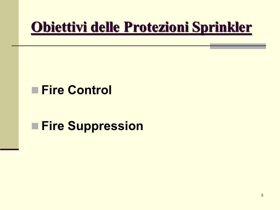 Obiettivi delle Protezioni Sprinkler