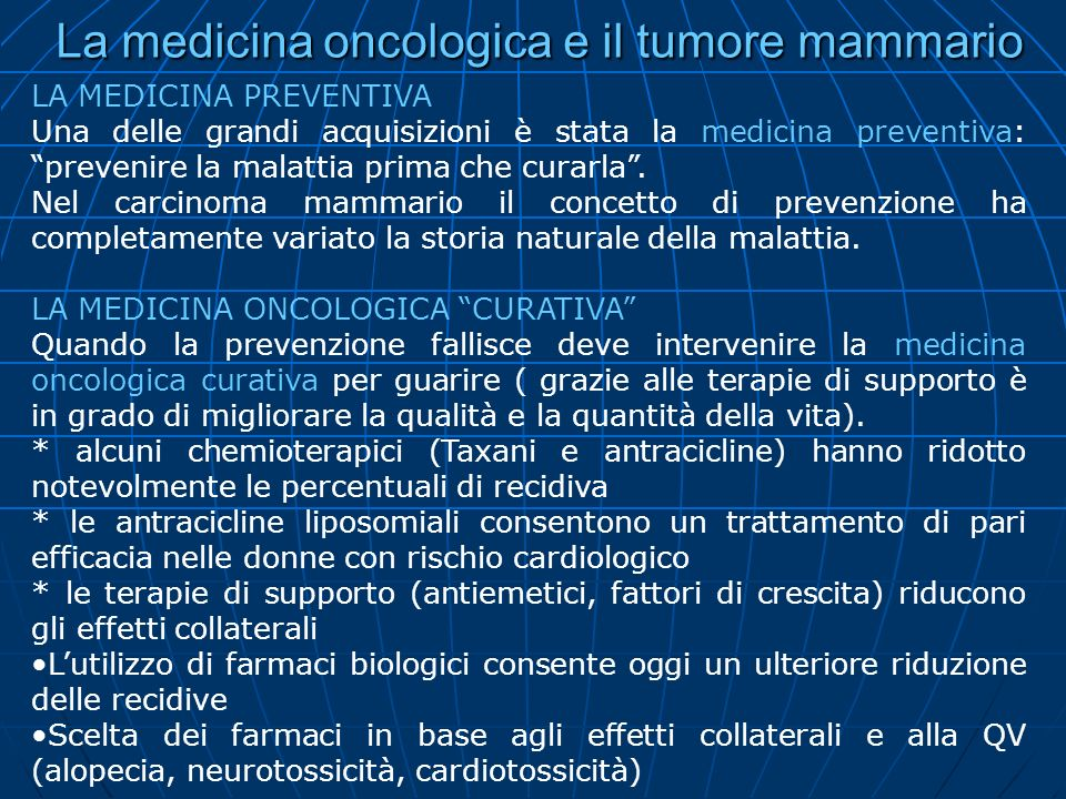 La medicina oncologica e il tumore mammario