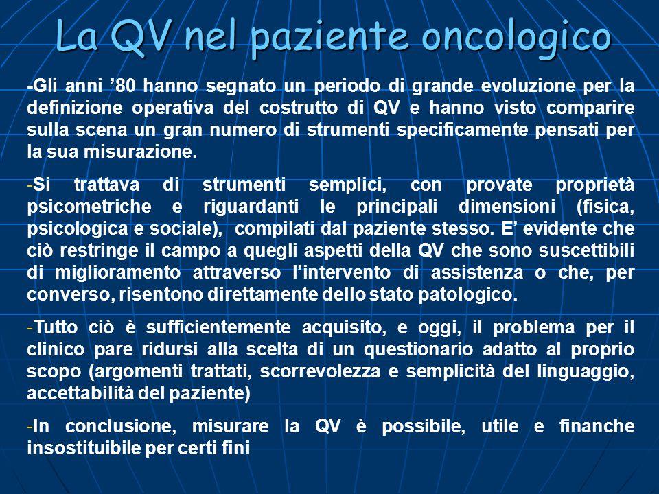 La QV nel paziente oncologico