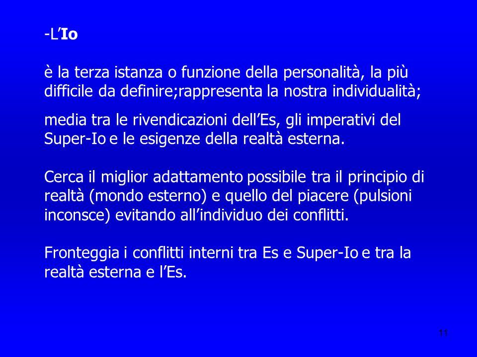 -L'Io è la terza istanza o funzione della personalità, la più difficile da definire;rappresenta la nostra individualità;