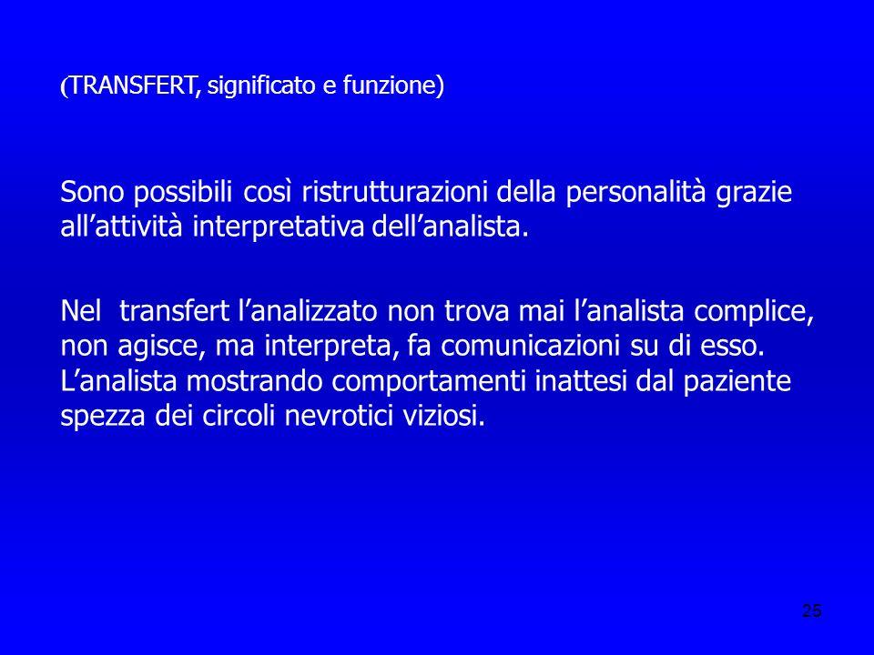 (TRANSFERT, significato e funzione)