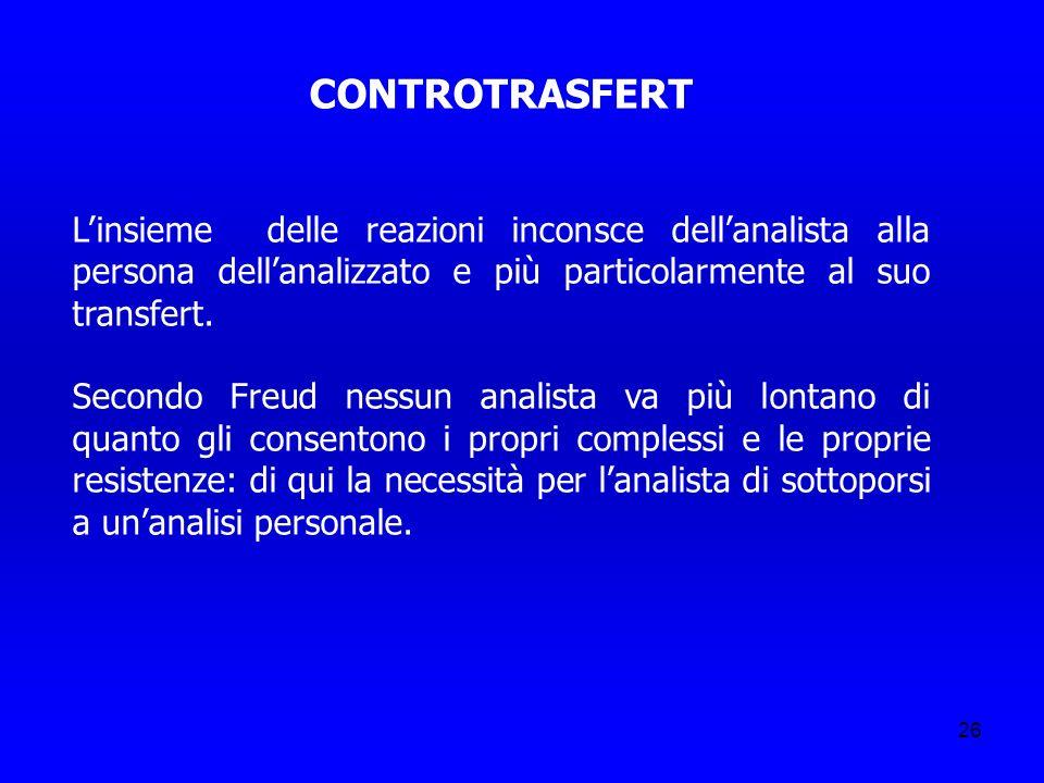 CONTROTRASFERT L'insieme delle reazioni inconsce dell'analista alla persona dell'analizzato e più particolarmente al suo transfert.