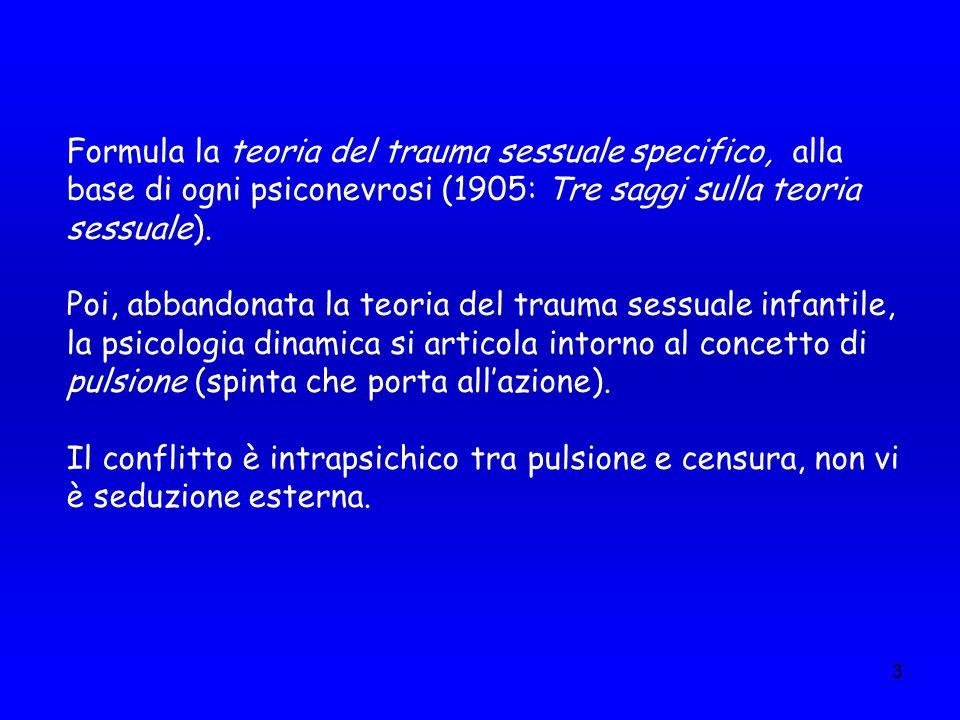 Formula la teoria del trauma sessuale specifico, alla base di ogni psiconevrosi (1905: Tre saggi sulla teoria sessuale).