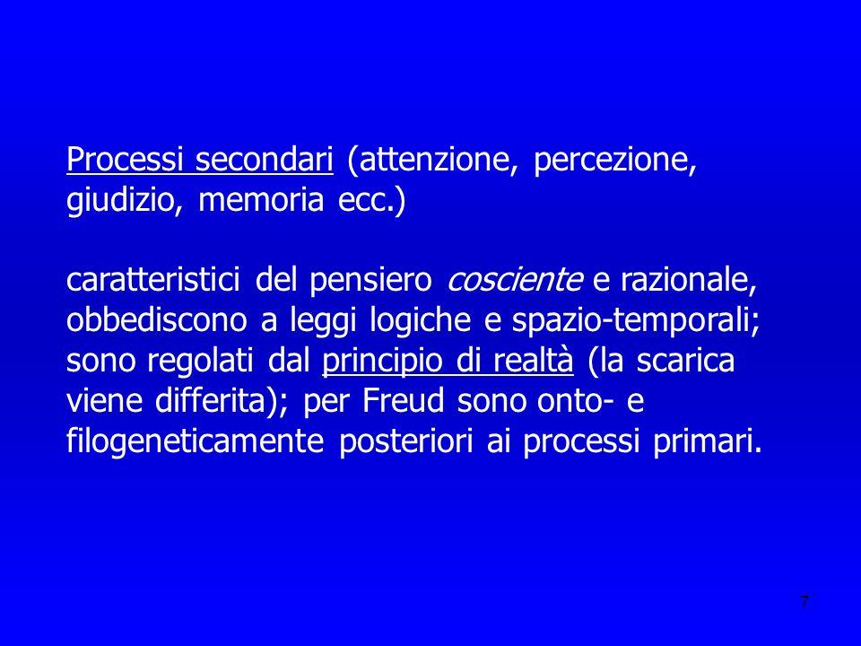 Processi secondari (attenzione, percezione, giudizio, memoria ecc.)