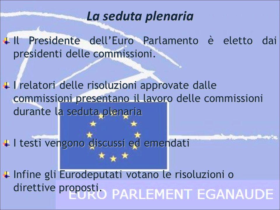 La seduta plenaria Il Presidente dell'Euro Parlamento è eletto dai presidenti delle commissioni.