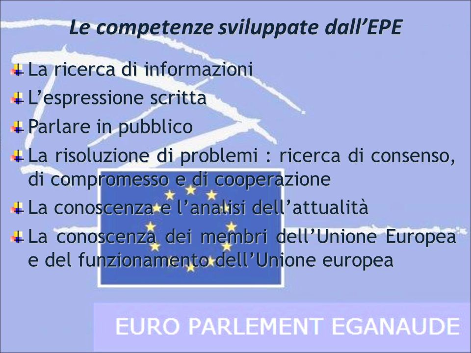 Le competenze sviluppate dall'EPE