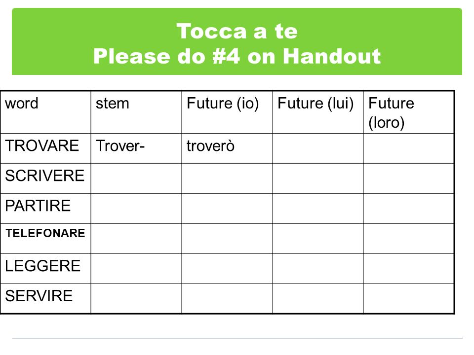 Tocca a te Please do #4 on Handout