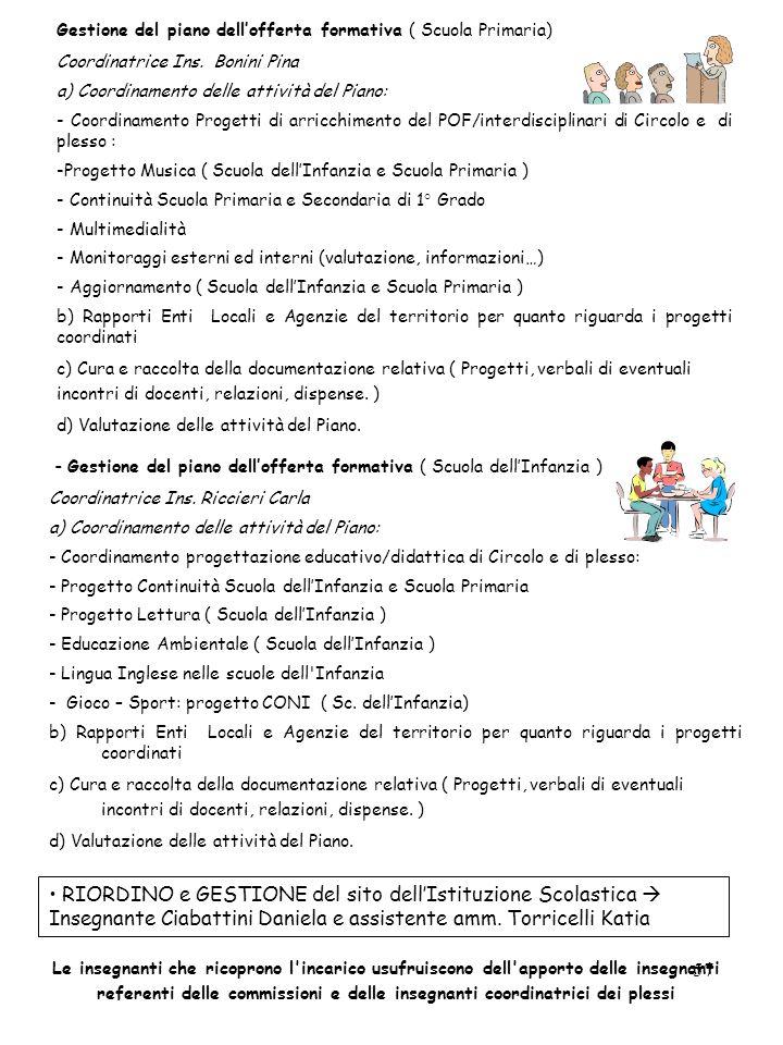 Gestione del piano dell'offerta formativa ( Scuola Primaria)