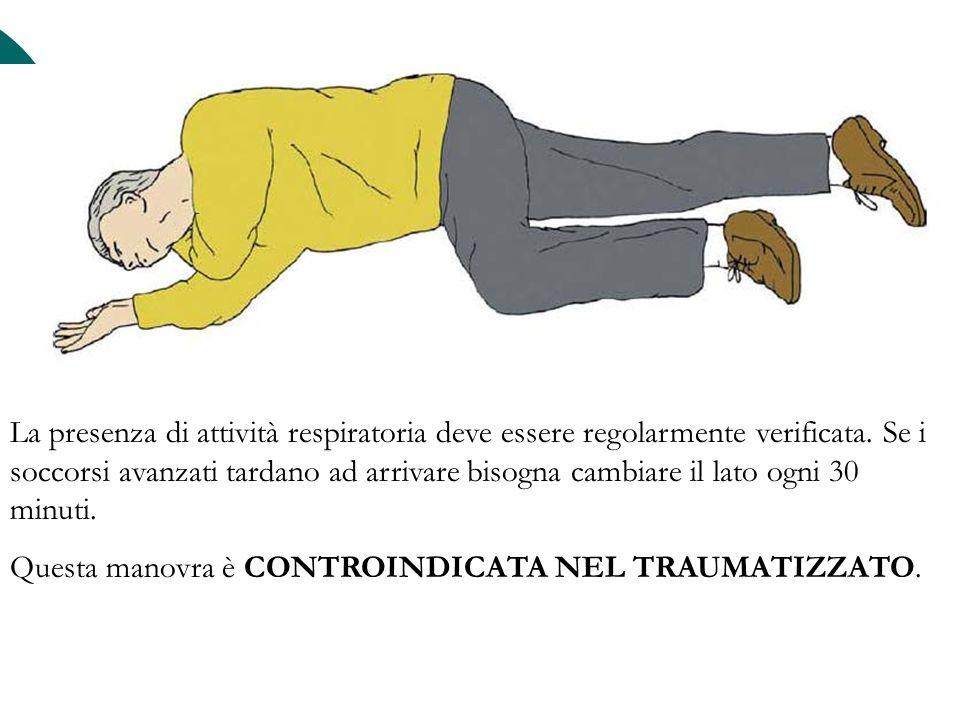 La presenza di attività respiratoria deve essere regolarmente verificata. Se i soccorsi avanzati tardano ad arrivare bisogna cambiare il lato ogni 30 minuti.