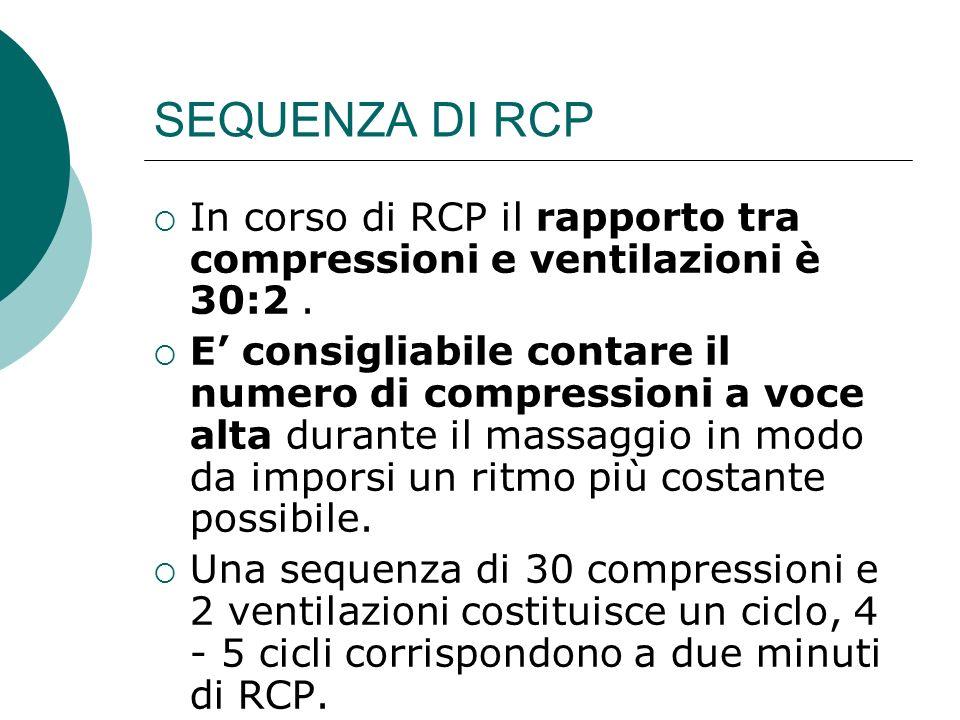 SEQUENZA DI RCP In corso di RCP il rapporto tra compressioni e ventilazioni è 30:2 .